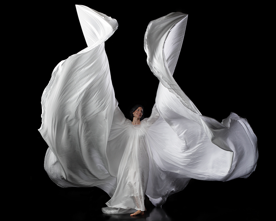 female dancer in white robes, angelic, angel, fabric, flowing